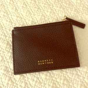 Barneys New York Leather Card Case Zipper Wallet